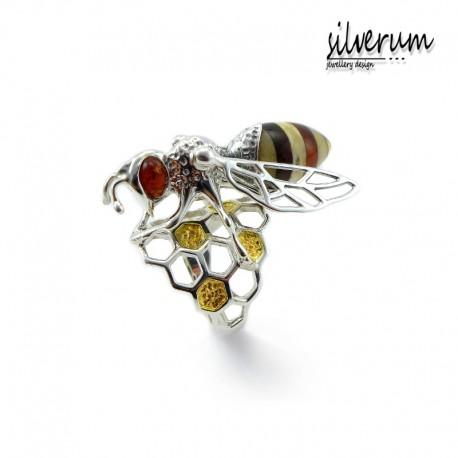 Pierścionek srebrna pszczoła