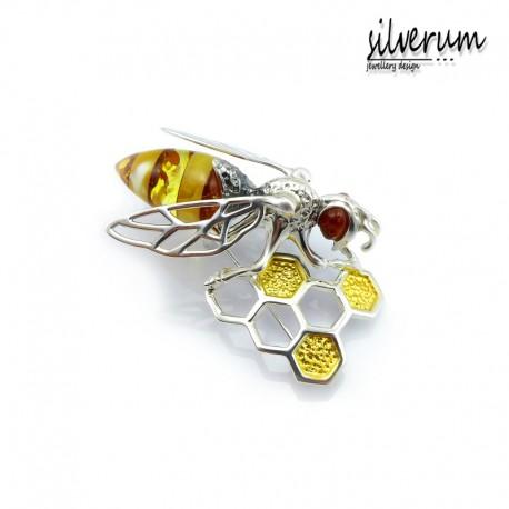 Oryginalna broszka srebrna pszczoła