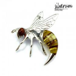 Broszka pszczoła z bursztynem