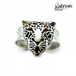 Gepard duża bransoleta srebrna