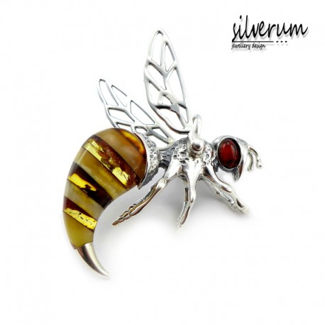 Mała pszczółka wisiorek z bursztynem
