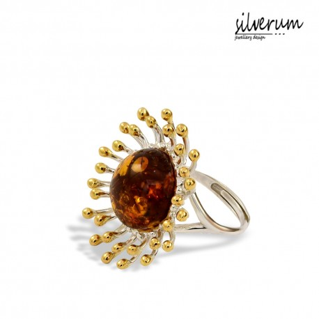 oryginalny pierścionek z bursztynem