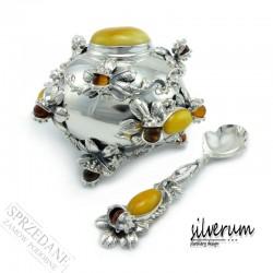 srebrna cukiernica z bursztynem i łyżeczką