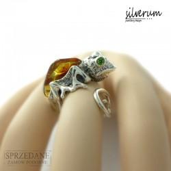 Kameleon pierścionek srebrny z bursztynem
