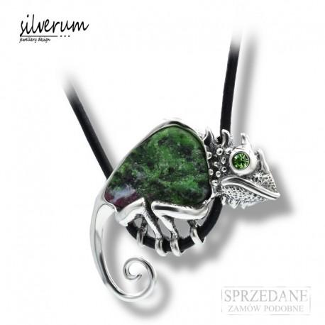 Srebrny Wisior Kameleon Zoist z Rubinem