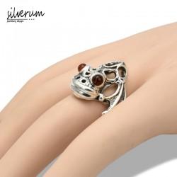 Żaba duży pierścionek srebrny